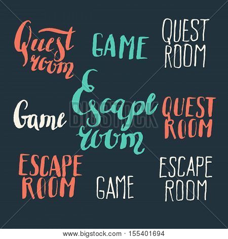 Real-life room escape and quest game logo. Modern hand drawn lettering phrase. Calligraphy brush and ink. Handwritten inscriptions and quotes for layout and template. Vector illustration of text
