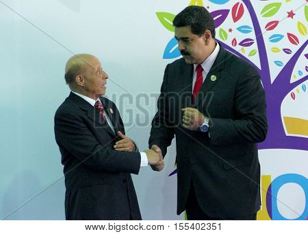 Porlamar Venezuela. September 17th 2016: Speaker of the Algeria People's National Assembly Mohamed Larbi Ould Khelifa and Venezuelan President Nicolas Maduro before the opening ceremony at the Non-Aligned Movement summit in Porlamar Margarita Island Venez