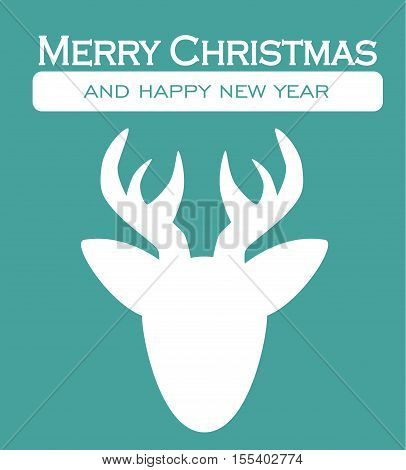 Reindeer Christmas Card - Merry Christmas Happy New Year Decorative Postcard Letter Background Illustration Vector Flat Stock