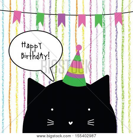 Happy birthday card with cute cat character. Greeting card. Design element.