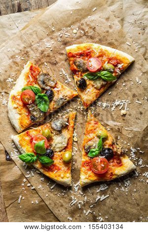Homemade Pizza With Mushrooms On Baking Paper