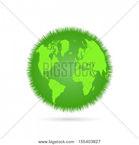 Green grass earth illustration on a white background