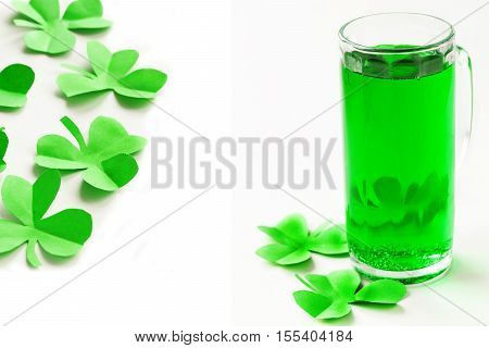 collage symbol of St.Patrick 's Day green beer and clover