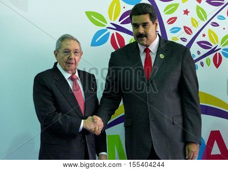 Porlamar Venezuela. September 17th 2016: Cuban President Raul Castro greets Venezuelan President Nicolas Maduro at the opening ceremony of the Non-Aligned Movement Summit in Porlamar Venezuela