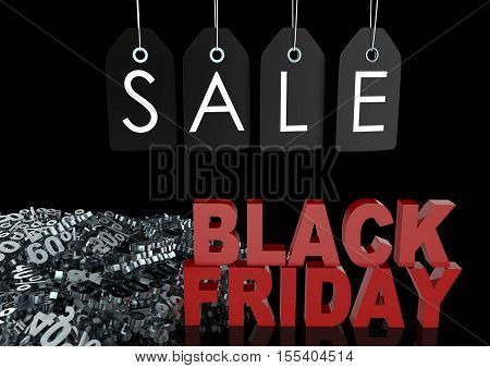 Black Friday Sale Background. Sale Lables, Black Friday Sign And Discounts Percentage, 3D Illustrati