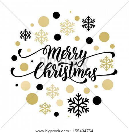 Merry Christmas gold glitter lettering design. Christmas greeting card, poster, banner. Vector golden glittering snow, snowflakes, black dots on white background
