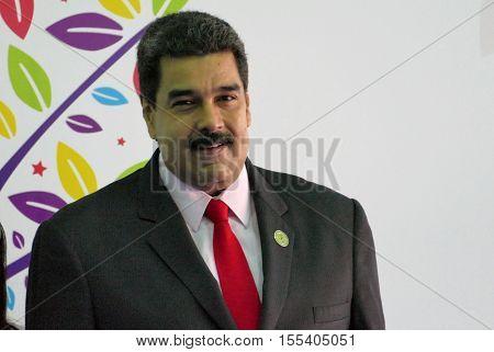 Porlamar Venezuela. September 17th 2016: Venezuelan President Nicolas Maduro before the opening ceremony at the Non-Aligned Movement summit in Porlamar Margarita Island Venezuela