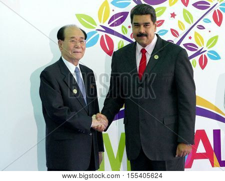 Porlamar Venezuela. September 17th 2016: President of the Presidium of the Supreme People's Assembly of North Korea attends Kim Yong Nam and Venezuelan President Nicolas Maduro at the opening ceremony of the Non-Aligned Movement Summit in Porlamar Venezue