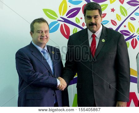 Porlamar Venezuela. September 17th 2016: Serbia's Foreign Minister Ivica Dacic and Venezuelan President Nicolas Maduro at the opening ceremony of the Non-Aligned Movement Summit in Porlamar Venezuela