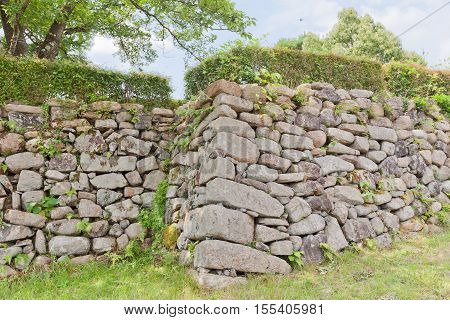 Stone wall of main bailey (Honmaru) of Tanabe castle. Castle was erected in 1579 by Hosokawa Fujitaka abandoned in 19th c partly reconstructed in 1940 and 1997