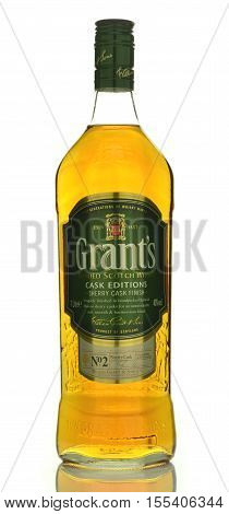 CIRCA OCTOBER 2016 - GDANSK: Grants blended cask editions whiskey isolated on white background. Grants has been produced by William Grant and sons in Scotland since 1887
