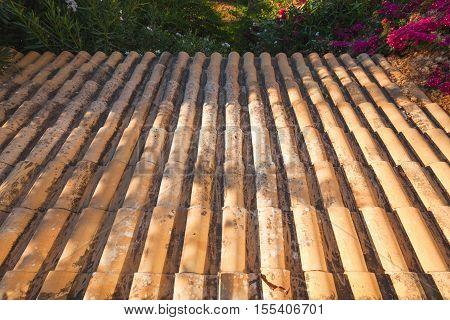 Old Tiling Roof Slope Goes Down