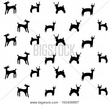Seamless vector background with the silhouettes of deers.