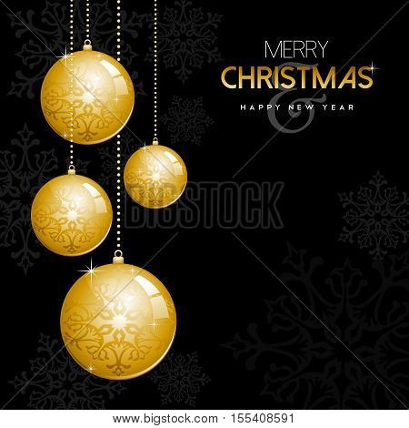 Gold Christmas And New Year Ornament Bauble Balls