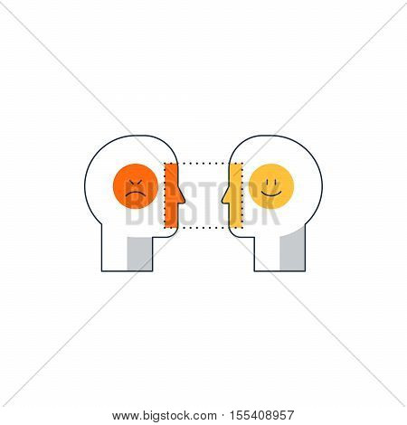 Human psychology and communication, linear design vector illustration