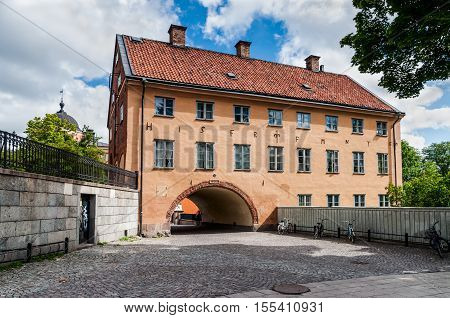 Uppsala Sweden - July 30 2010: The Skytteanum is the residence of the professor and premises for research and teaching in political science of Uppsala University at July 30 2010 in Uppsala Sweden. Uppsala University the oldest and one of the largest in Sw