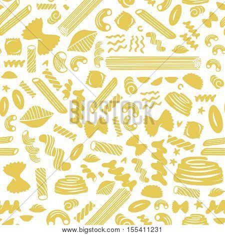 Pasta seamless pattern on white background.