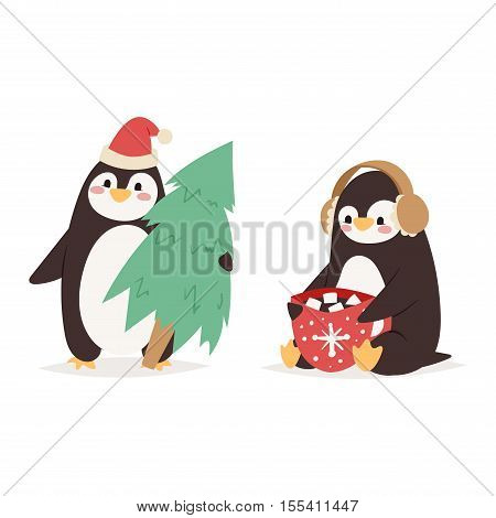Penguin set vector illustration character. Cartoon funny penguins different situations. Penguin vector cute birds posing. Christmas holiday penguins