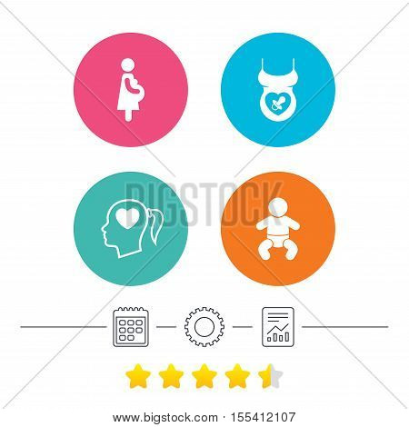 Maternity icons. Baby infant, pregnancy and dummy signs. Child pacifier symbols. Head with heart. Calendar, cogwheel and report linear icons. Star vote ranking. Vector