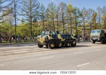 Nizhny Tagil Russia - May 09 2016: Armored personnel carrier in the Victory Parade