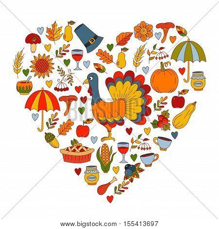 Cute thanksgiving day doodles collection, various holiday symbols in heart shape, turkey pie pilgrim hat pumpkin corn