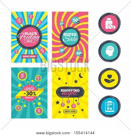 Sale website banner templates. Medicine icons. Medical tablets bottle, head with brain, prescription Rx signs. Pharmacy or medicine symbol. Hand holds heart. Ads promotional material. Vector