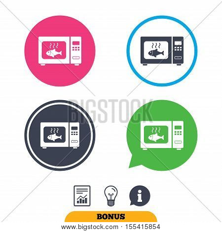 Microwave oven sign icon. Grilled fish. Kitchen electric stove symbol. Report document, information sign and light bulb icons. Vector