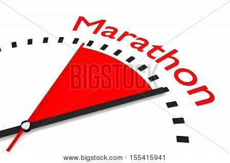 clock with red seconds hand area marathon 3D Illustration