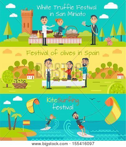 White truffle festival in San Minato, festival of olives banner Spain, kite surfing festival banners set. Flat style design. Main Spain entertainment festivals. Holiday event. Vector illustration
