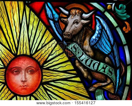 Stained Glass Symbolizing Saint Luke The Evangelist