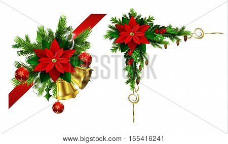 corner Christmas decoration set with evergreen treess holly and pinecone and poinsettia and ribbon isolated