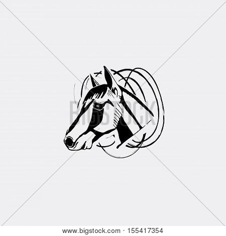 Logotype, emblem, sign, symbol, insignia of horse head. Stencil, linocut, engraving style. Monochrome, black and white.