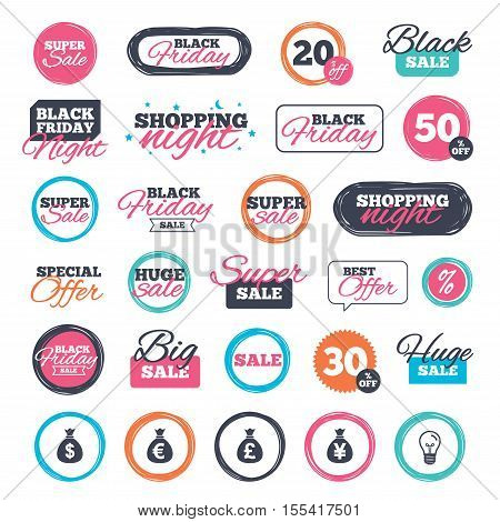 Sale shopping stickers and banners. Money bag icons. Dollar, Euro, Pound and Yen symbols. USD, EUR, GBP and JPY currency signs. Website badges. Black friday. Vector