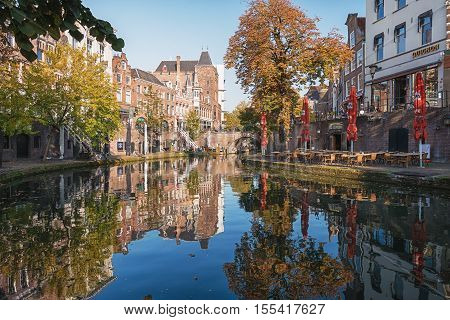 Utrecht Netherlands - October 23 2016: The Oude Gracht in the historic center of the city of Utrecht