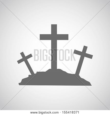Gray Calvary icon with three crosses on light background. Vector illustration.