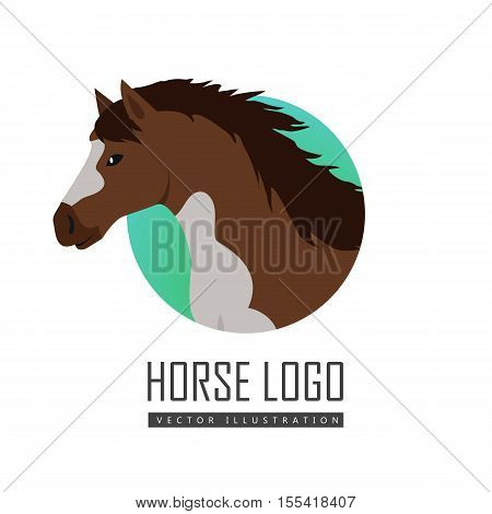 Horse flat style vector logo. Domestic animal. Country inhabitants concept. Illustration for farming, animal husbandry, horse sport companies. Agricultural species. Isolated on white