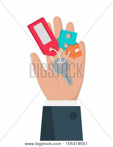 Hand with key vector in flat style design. Key from house with tag in man hand. Buying new living. Illustration for real estate company advertising, housing concepts. Isolated on white background.