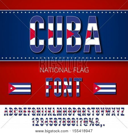 Cuba National Flag stylized Font. Alphabet and Numbers in Vector Set