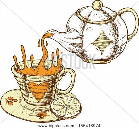 Tea Cup and Pot with Tea Isolated on a White