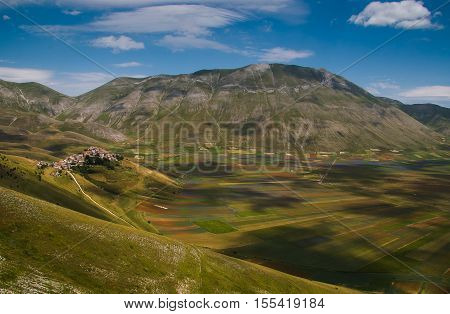 Panoramic view of Vettore mountain and Castelluccio di Norcia, the village destroyed by earthquake of central Italy