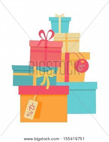 Big pile of colorful wrapped gift boxes. Mountain gifts sale. Beautiful present box with overwhelming bow. Gift box icon. Gift symbol. Christmas gift box. Isolated vector illustration