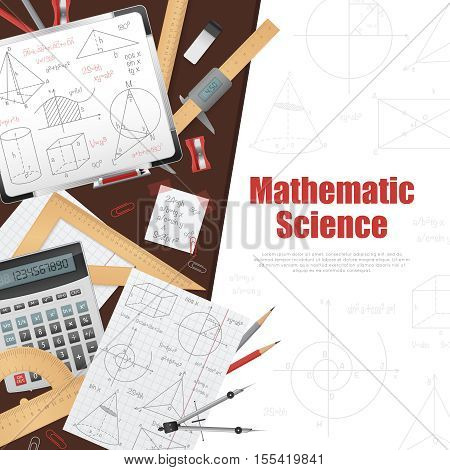Mathematic science poster with huge title on white background right side stationery and solutions on left side vector illustration