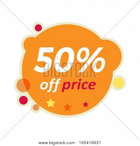 Sale round banner isolated. 50 percent off price discount. Fall summer spring winter big best price christmas xmas sale. Advertising coupon badge label and sticker. Universal discount poster. Vector