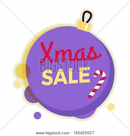 Xmas sale round banner isolated on Christmas ball with candy stick. New Year sale. Winter sale tag with label. Collection of sale elements. Special offer. Universal discount price poster. Vector