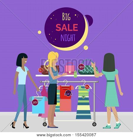 Big night sale round banner. Sale in fashionable boutique. Girls near couture counter choose the dresses and bags. Best price on the modern brands. Sale at night in the store. Women shopping. Vector