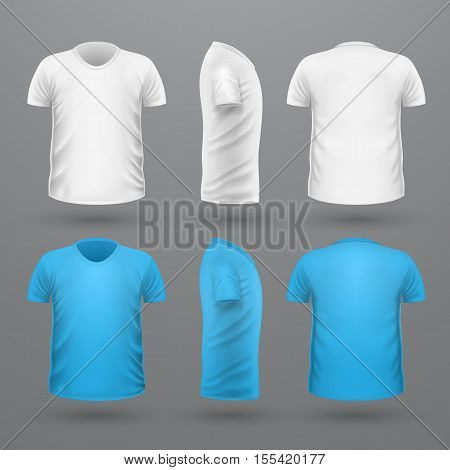 T-shirt template set, front, side, back view. White and blue colors. Realistic vector illustration in flat style. Sport clothing. Casual men wear. Cotton unisex polo outfit. Fashionable apparel.