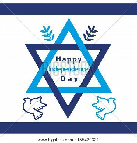 Israel Independence Day. Holiday banner concept. Jewish celebration background. Symbols of Israel flag, olive, dove, Dvid star in Blue and White. Happy Jewish greeting background. Vector illustration