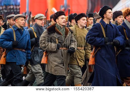 MOSCOW RUSSIA - NOVEMBER 07 2016: Parade dedicated to November 7 1941 on Red Square in Moscow. 75th anniversary.