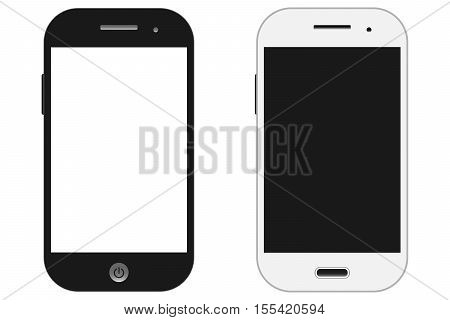 Smartphones vector mockup black and white. Can use for background frame / brochure object / web element / object for printing / app background mockup.