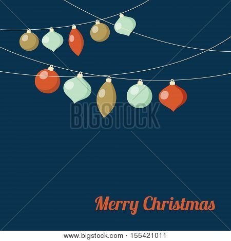 Christmas greeting card with garland of Christmas balls. Festive party decoration. Minimalistic vintage flat design. Vector illustration background.